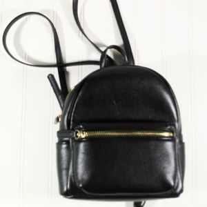 Forever 21 Black Faux Leather Small Tote Backpack